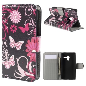 Leather Magnetic Wallet Cover for Alcatel One Touch POP D3 4035A - Butterflies and Flowers