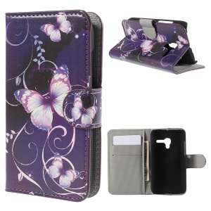 Leather Stand Card Slots Case for Alcatel One Touch POP D3 4035Y - Purple Butterfly