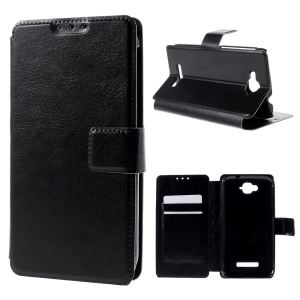 Crazy Horse Wallet Leather Case for Alcatel One Touch Pop C7 OT-7040E 7040F 7040D with Stand - Black