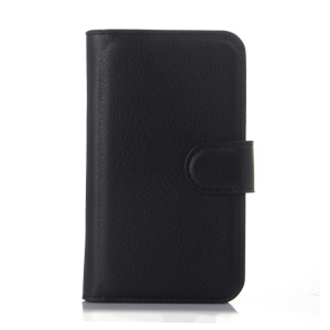 Litchi Grain Leather Protective Case for Alcatel One Touch POP D3 4035Y - Black