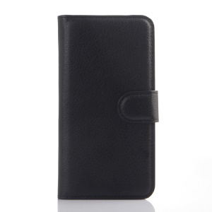 Litchi Skin Leather Wallet Shell Case for Alcatel Idol 3 (4.7) - Black