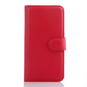 Litchi Skin Leather Wallet Shell Case for Alcatel Idol 3 (4.7) - Red