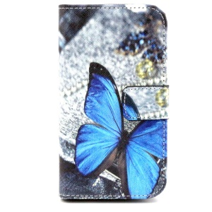 Wallet Leather Case for Alcatel One Touch Pop C5 OT-5036D OT-5036X - Blue Butterfly