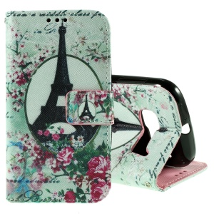 Callfree Wallet Leather Case for Alcatel One Touch Pop C5 OT-5036D - Eiffel Tower and Flowers