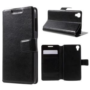 Leather Stand Case for Alcatel OneTouch Idol 3 (4.7) - Black