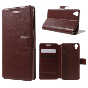 Leather Stand Case for Alcatel OneTouch Idol 3 (4.7) - Brown