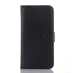Litchi Skin Leather Cover Card Holder for Alcatel OneTouch Idol 3 (5.5) - Black