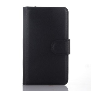 Lychee Grain Wallet Leather Case for Alcatel One Touch Pixi 3 4.0 OT-4013D 4013X 4013E - Black