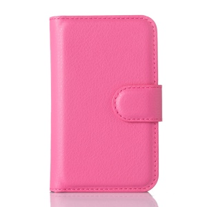 Litchi Skin Leather Wallet Cover Case for Alcatel One Touch PIXI 3(3.5) 4009A 4009D 4009E 4009X - Rose