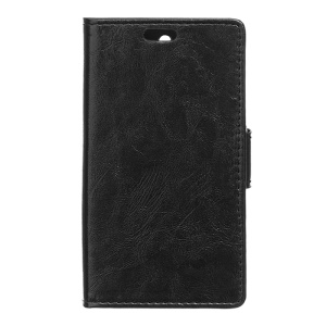 Crazy Horse Leather Bracket Case for Alcatel One Touch Pixi 3 4.0 4013E 4050X - Black
