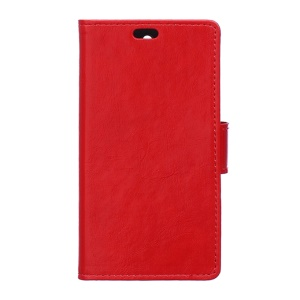 Crazy Horse Leather Card Holder Case for Alcatel One Touch Pixi 3 4.0 4013E 4050X - Red