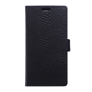Crocodile Skin Leather Wallet Case for Vodafone Smart ultra 6 - Black