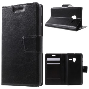 Crazy Horse Leather Stand Cover for Alcatel One Touch Pixi 3 (4.5) 3G 4027X/4027A - Black