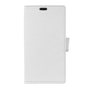 Crazy Horse Leather Wallet Cover for Alcatel One Touch Pixi 3 (4.5) 3G 4027D/4027A - White