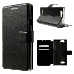 Leather Case for ZTE Blade L2 w/ Stand & Card Slots - Black