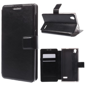 Leather Case w/ Credit Card Slots for ZTE Blade Vec 4G - Black