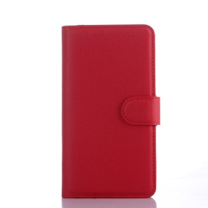 Litchi Skin Wallet Leather Stand Case Cover for ZTE Blade L3 - Red