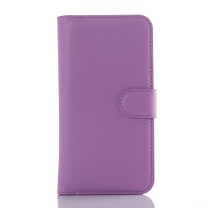 Litchi Skin Leather Wallet Cover Case for ZTE Blade S6 - Purple