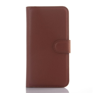 Litchi Skin Leather Wallet Cover Case for ZTE Blade S6 - Brown