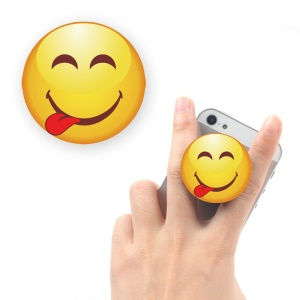 Emoji Pattern Stretchable Mount Stand Finger Grip for iPhone Samsung Sony Etc - Face Savouring Delicious Food / Left Tongue
