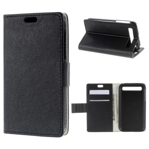 Litchi Skin Leather Stand Case Cover for BlackBerry Classic Q20 - Black