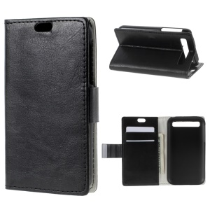 Crazy Horse Skin Leather Stand Cover for BlackBerry Classic Q20 - Black