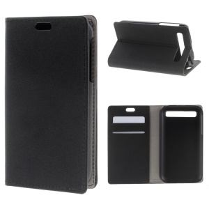 Sand-like Texture Leather Stand Case for Blackberry Classic Q20 - Black