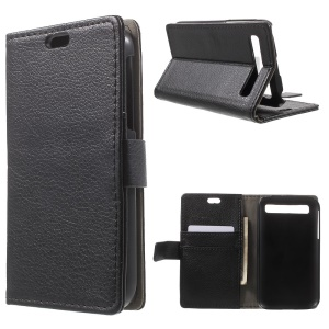 Litchi Skin Wallet Leather Stand Case for Blackberry Classic Q20 - Black