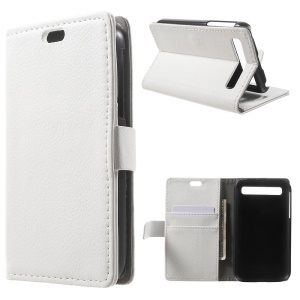 Litchi Skin Wallet Leather Stand Cover for Blackberry Classic Q20 - White