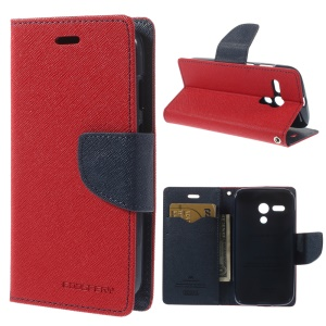MERCURY Goospery Diary Wallet Leather Stand Cover for Motorola Moto G DVX XT1032 - Red