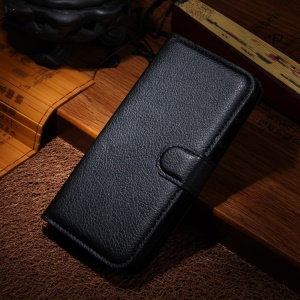 Litchi Texture Leather Stand Case for Motorola Moto G2 G (2nd gen) XT1063 XT1072 / Dual SIM - Black
