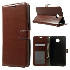 Crazy Horse Card Holder Stand Leather Case for Motorola Nexus 6 XT1100 XT1103 - Brown