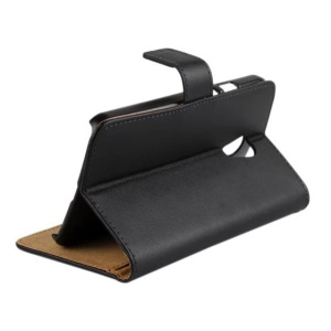 Split Genuine Leather Wallet Stand Case for Motorola Moto G (2nd gen) XT1063 XT1072 / Dual SIM - Black