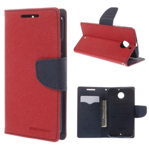 MERCURY Goospery for Motorola Moto X2 XT1097 X+1 Fancy Diary Wallet Leather Stand Case - Red