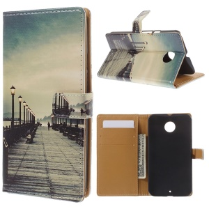 For Motorola Moto X2 XT1097 X+1 Magnetic Leather Stand Case - Dock at Sunset