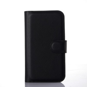 Lychee Leather Wallet Stand Case for Motorola Moto E2 XT1505 (2015) - Black