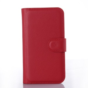 Lychee Leather Wallet Stand Case for Motorola Moto E2 XT1505 (2015) - Red