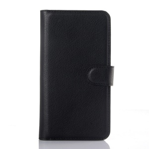 Litchi Skin Wallet Leather Stand Case for Motorola Moto X Play - Black