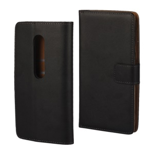 Genuine Split Leather Wallet Case for Motorola Moto G 3rd Gen XT1541 XT1543 - Black