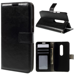 Leather Wallet Case for Motorola Moto G 3rd Gen XT1541 XT1543 - Black