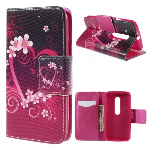 Magnetic Wallet Leather Protective Case for Motorola Moto G 3rd Gen XT1541 XT1543 - Heart and Flowers