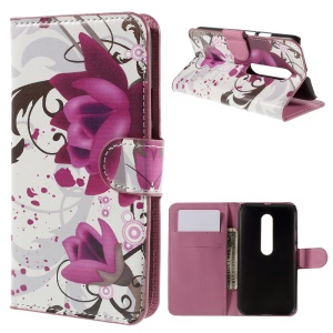 PU Leather Case Cover for Motorola Moto G 3rd Gen XT1541 XT1543 with Card Slots - Purple Flowers
