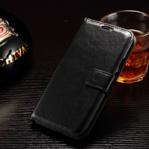 Crazy Horse Leather Wallet Case for Motorola Moto G 3rd Gen XT1541 XT1543 - Black