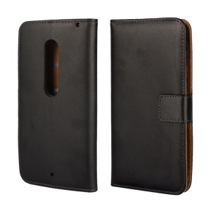Wallet Genuine Split Leather Case for Motorola Moto X Play with Stand - Black