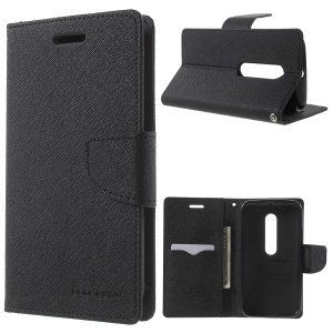 MERCURY Goospery Fancy Diary for Motorola Moto G 3rd Gen XT1541 XT1543 Wallet Leather Shell - Black