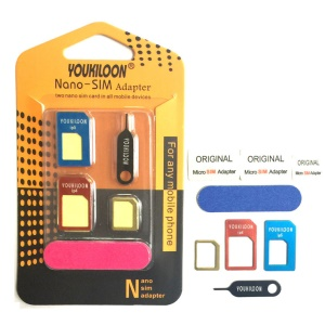 YOUKILOON 8-in-1 Nano Micro Standard SIM Card Adapter Converter Kit