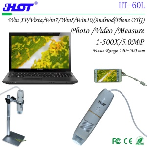 HOT HT-60L 1X-500X Magnification 8-LED USB Digital Microscope Endoscope with OTG Cable