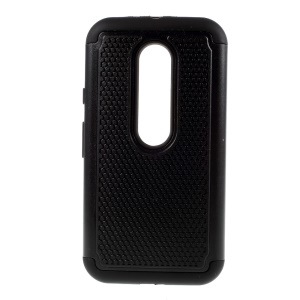 Football Grain PC + Silicone Hybrid Case for Motorola Moto G 3rd Gen XT1541 XT1543 - Black