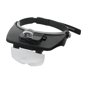 2-LED Headband Magnifier Magnifying Glass Loupe for Reading Jewelry Appraisal Etc (MG81001-A)