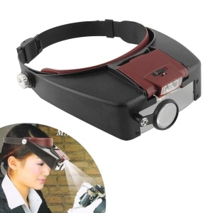 LED Head Mounted 10X Glasses Magnifier with 3 Replaceable Lenses for Reading Crafting etc MG81007-A